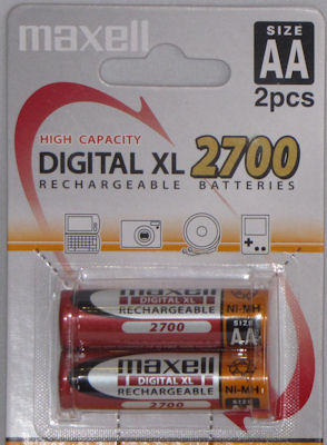 Maxell AA Rechargable batteries - twin pack