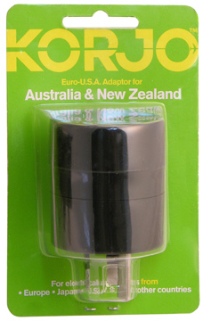 Korjo AA01 Euro-USA adapter for AU and NZ